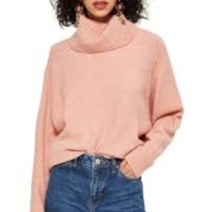 Topshop Comfy Oversize Sweater Pink Cowl Neck 10